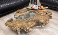 Verwendet Wurde Fr Diesen Couchtisch Eine Antike Baumscheibe Aus Teakholz Das Mittig Vorhandene Loch