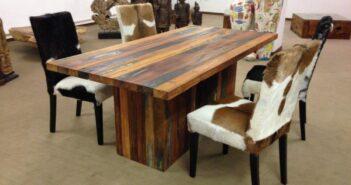 Massivholztisch aus recyceltem Holz (Boatwood)