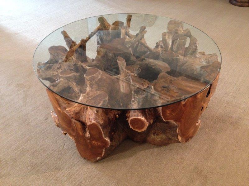 couchtisch wohnzimmertisch aus einer baumwurzel rund 100 cm der tischonkel. Black Bedroom Furniture Sets. Home Design Ideas