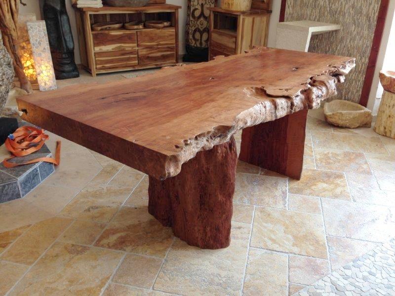 Tischplatte esstisch aus einem baumstamm lychee 206 x 85 95 cm der tischonkel for Wohnzimmertisch baumstamm
