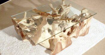 Baumwurzeltisch mit Glasplatte