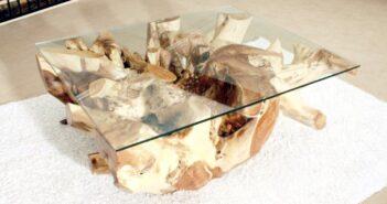 Couchtisch / Wohnzimmertisch aus einer Baumwurzel