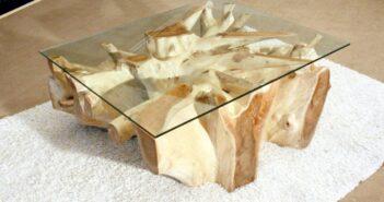 Tisch Baumwurzel Glasplatte