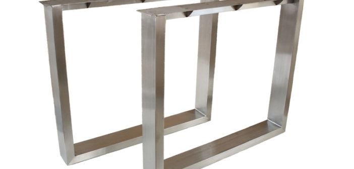Tischbeine / Tischgestell aus Edelstahl (gebürstet)