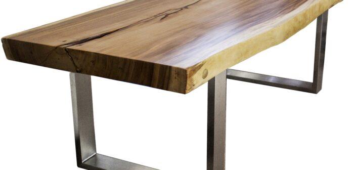 Fabelhaft Massivholztisch aus einem Baumstamm mit Gestell aus Edelstahl &DS_73