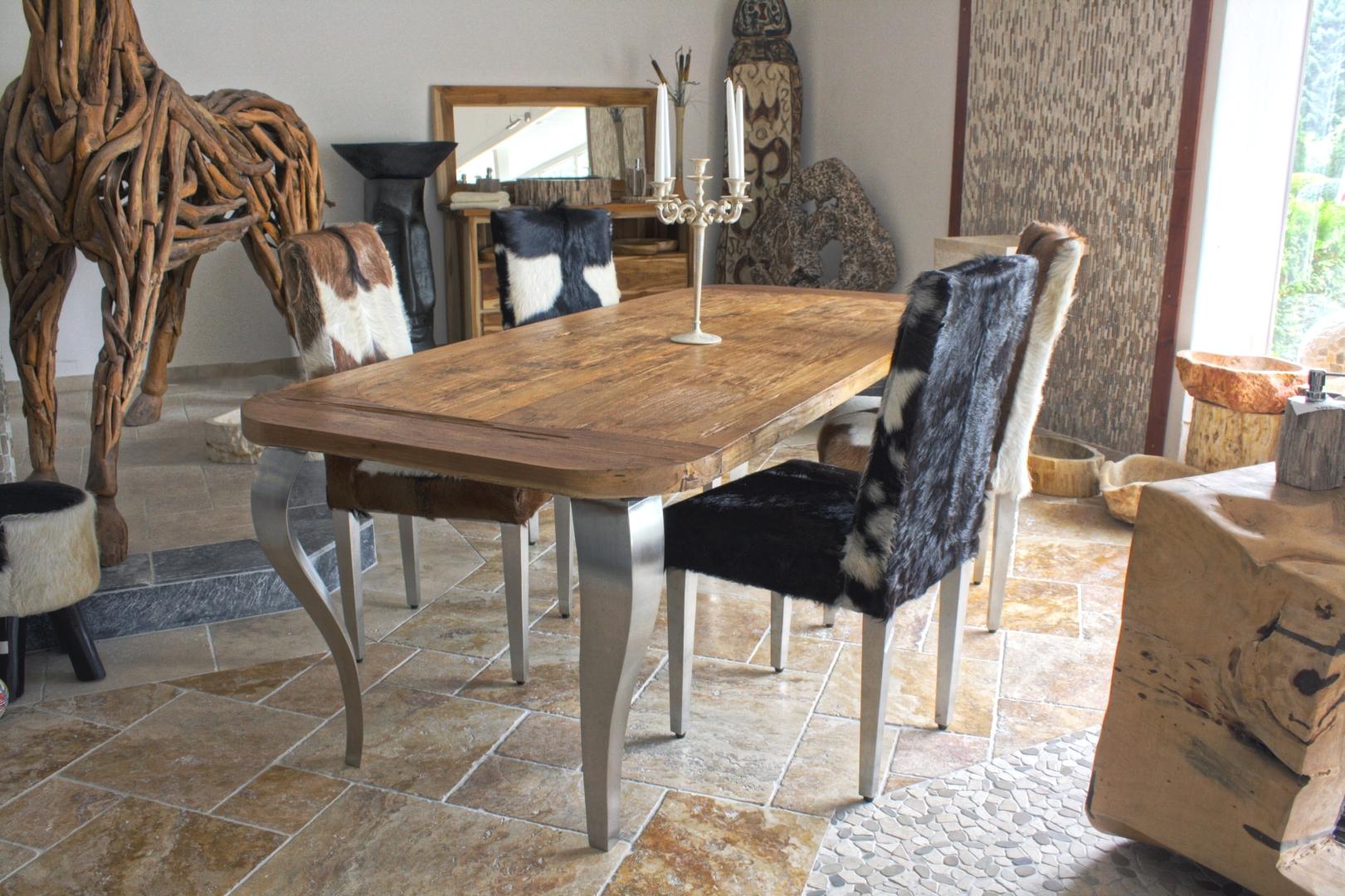 esstisch holz und edelstahl. Black Bedroom Furniture Sets. Home Design Ideas