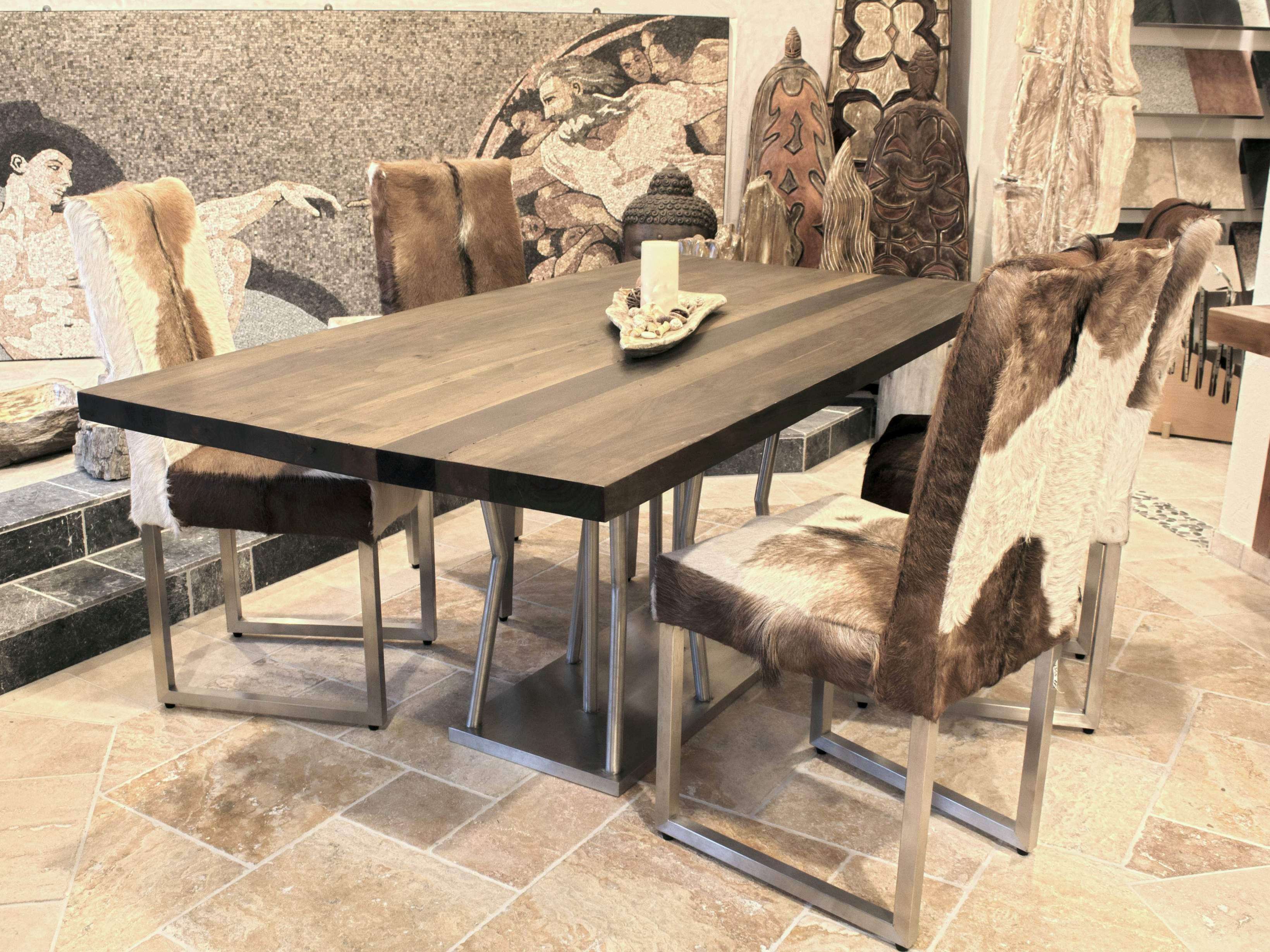 esstisch mit tischgestell aus edelstahl 200 x 100 cm der tischonkel. Black Bedroom Furniture Sets. Home Design Ideas