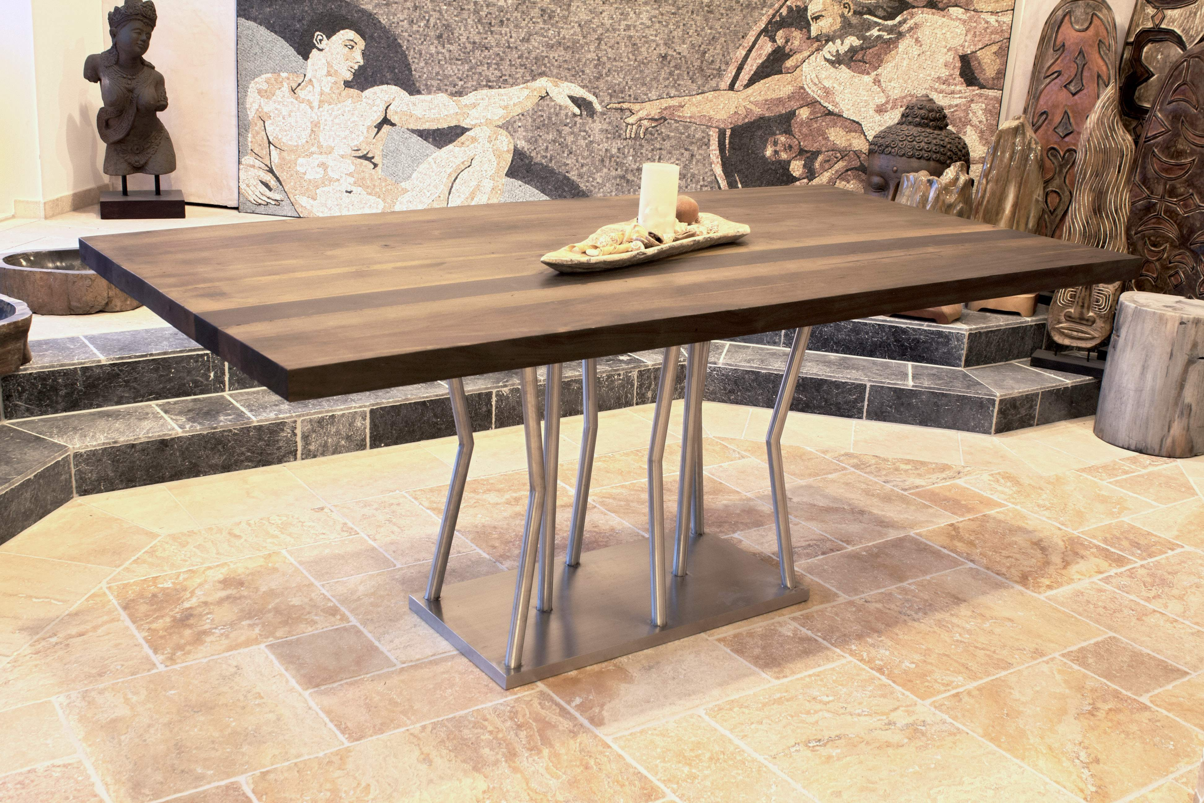 Esstisch mit tischgestell aus edelstahl 200 x 100 cm der for Esstisch holz mit edelstahl