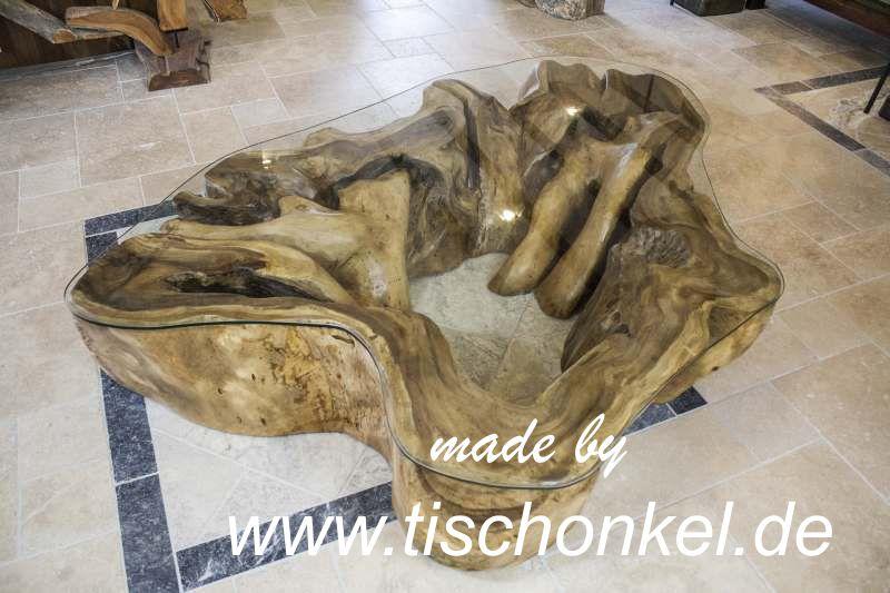 Couchtisch Baumstamm aus Suar  Akazie  Der Tischonkel