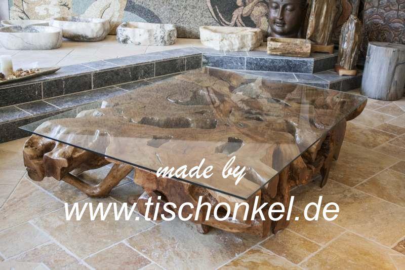 Couchtisch aus einer massiven Baumwurzel : Der Tischonkel