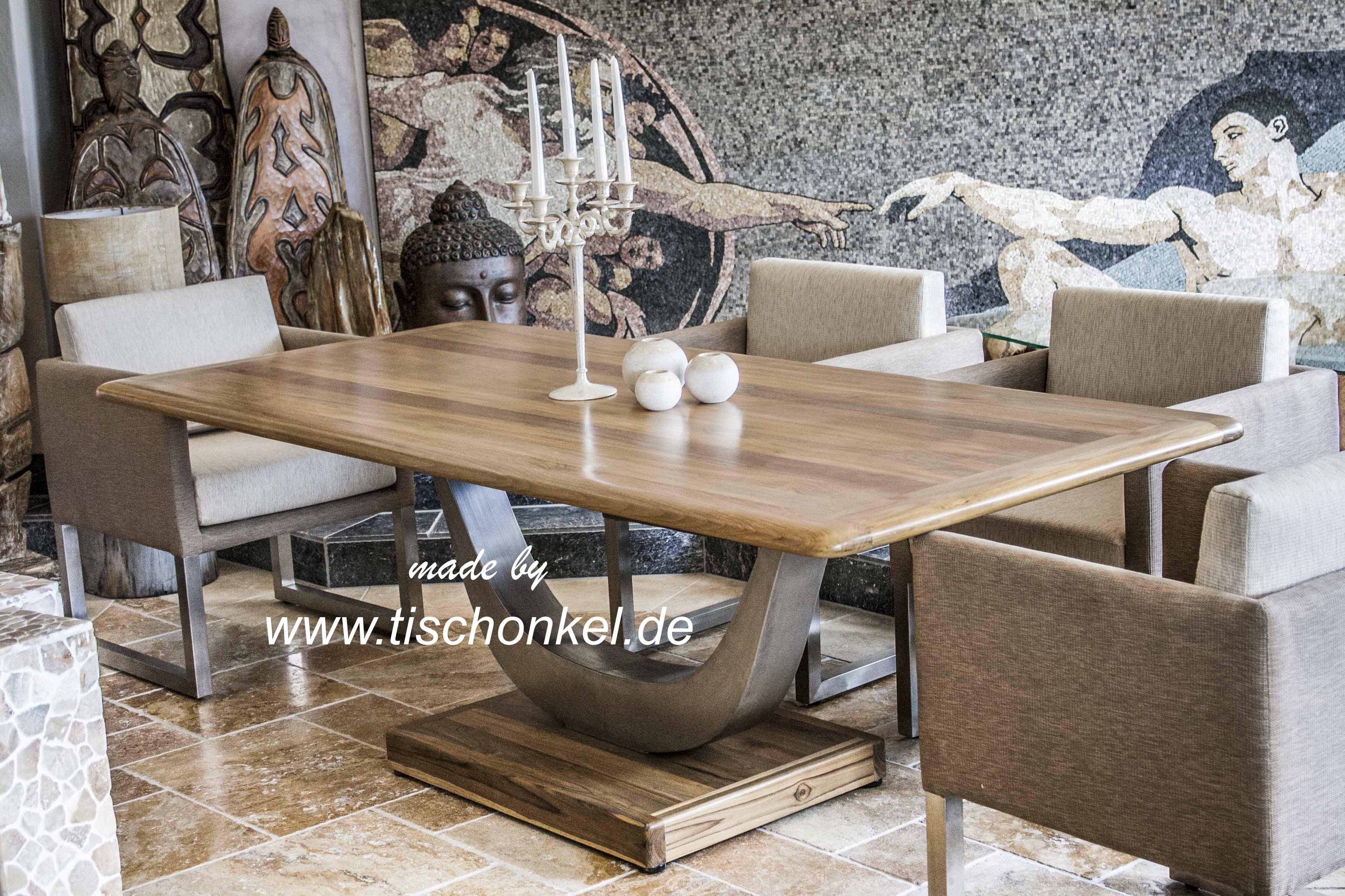 Designtisch esstisch mit gestell aus edelstahl der for Esstisch holz mit glasplatte