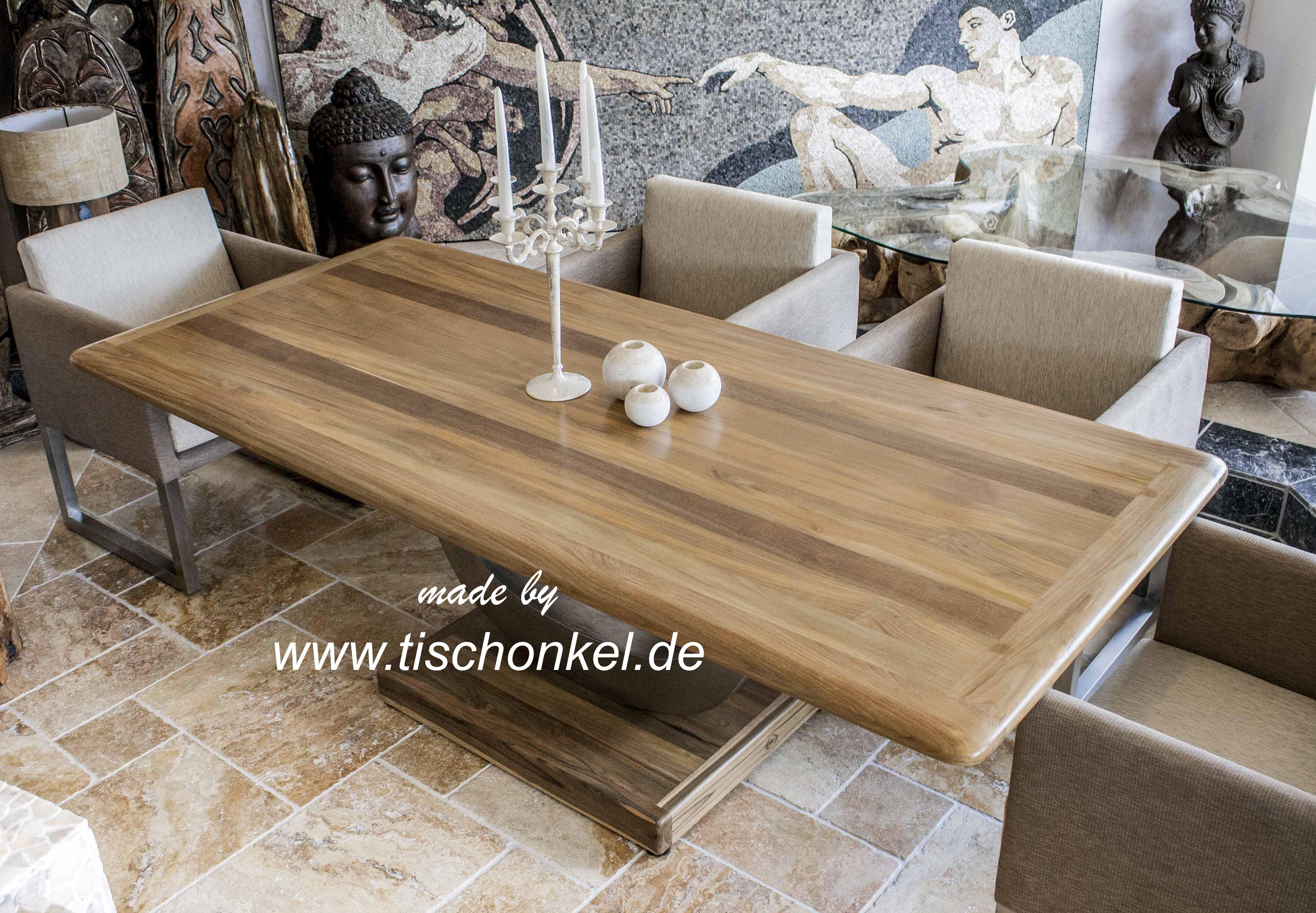 Esstisch Lychee ~ Designtisch Esstisch mit Gestell aus Edelstahl  Der Tischonkel