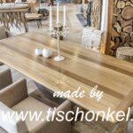 Designtisch Massivholz mit Edelstahl