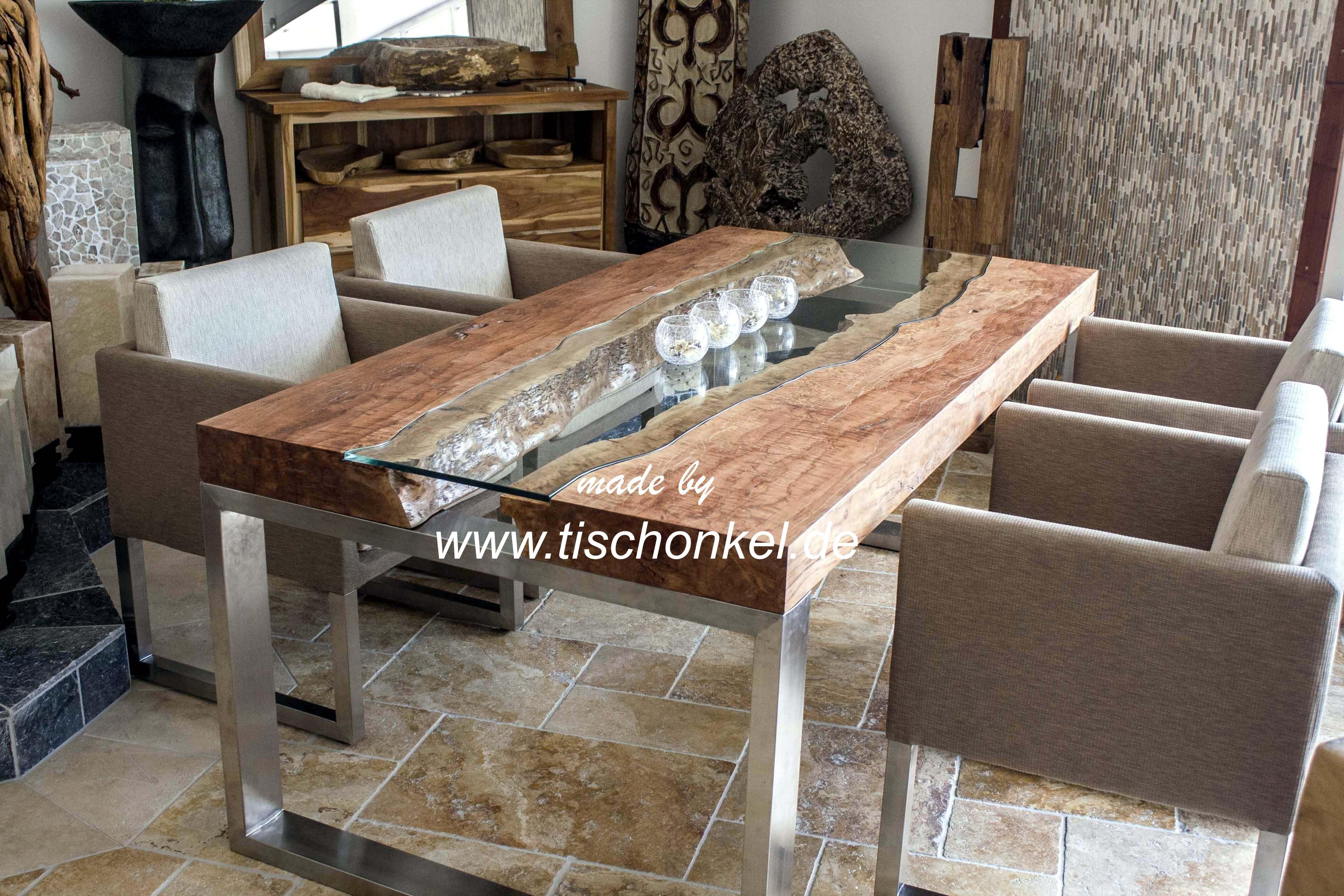 Designtisch mit kunstvoller glasplatte der tischonkel for Esstisch holz mit edelstahl