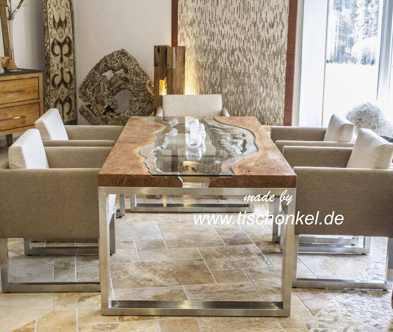 Esstisch elements aus massivholz edelstahl und glas for Esszimmertisch holz