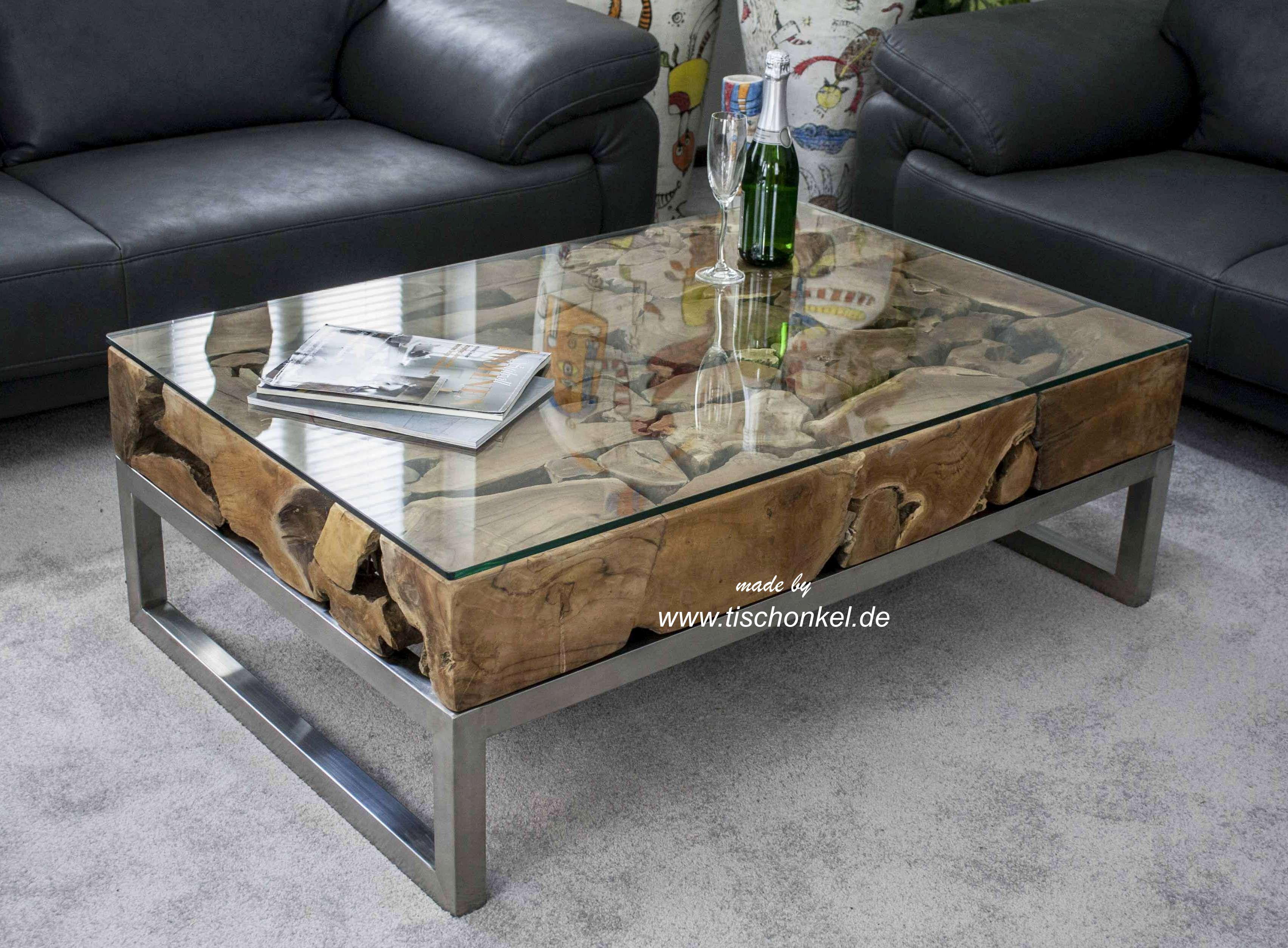 couchtisch aus altholz mit edelstahl und glas der tischonkel. Black Bedroom Furniture Sets. Home Design Ideas