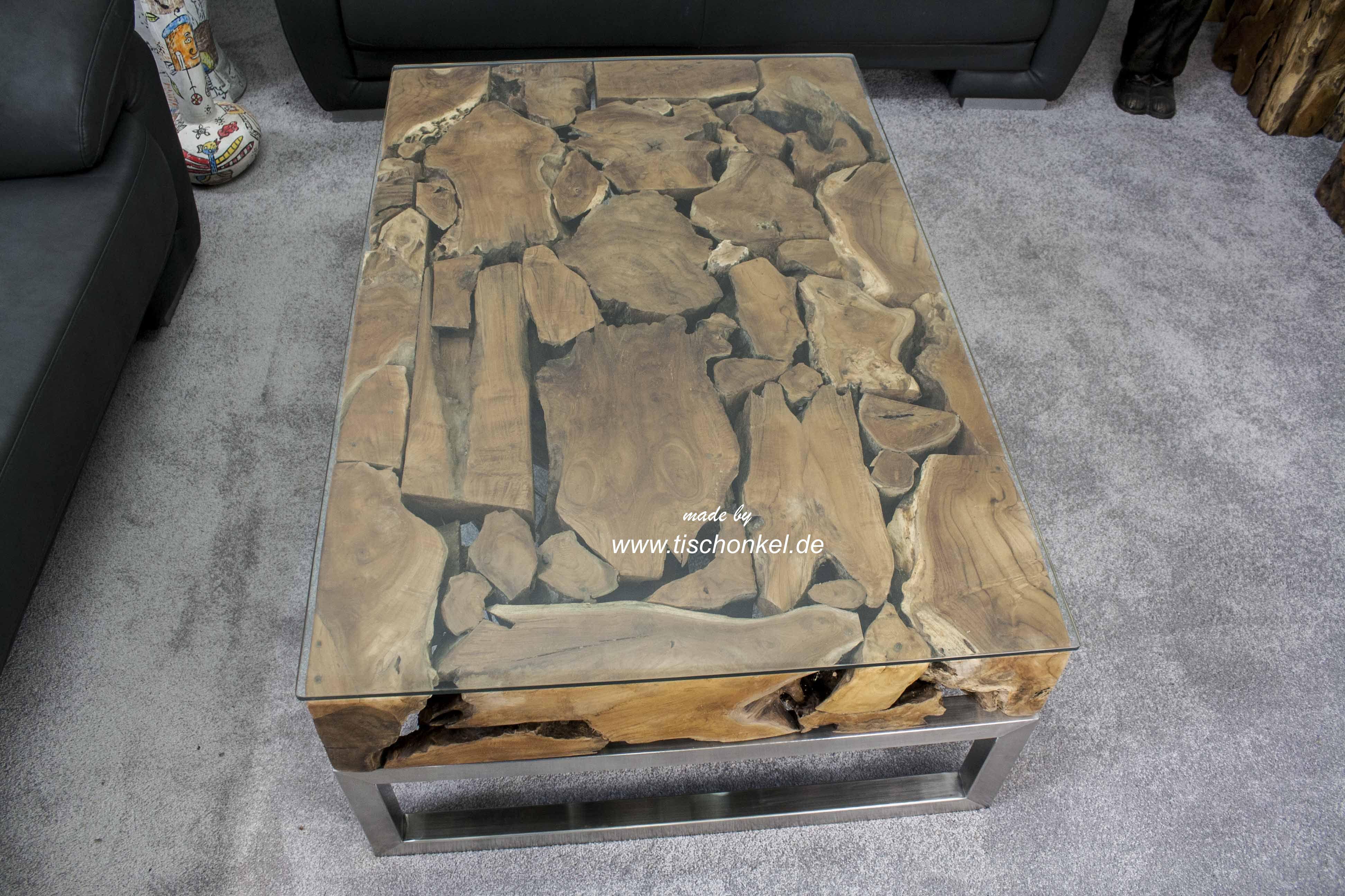 Couchtisch Aus Altholz Mit Edelstahl Und Glas Der Tischonkel