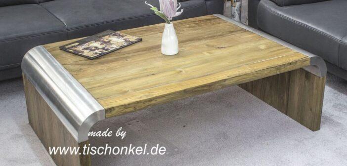 Design Couchtisch Altholz Edelstahl