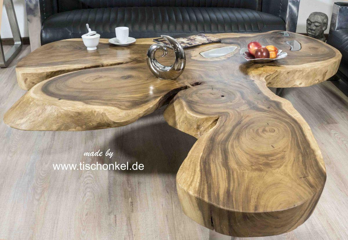 Couchtisch Aus Einem Holzstamm Der Tischonkel