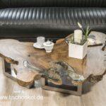 Couchtisch Teak Baumscheibe mit Edelstahlgestell und Glas mit Edelstahlgestell und Glas
