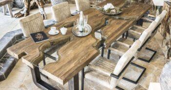 Esstisch aus Massivholz, Rohlstahl und Glas
