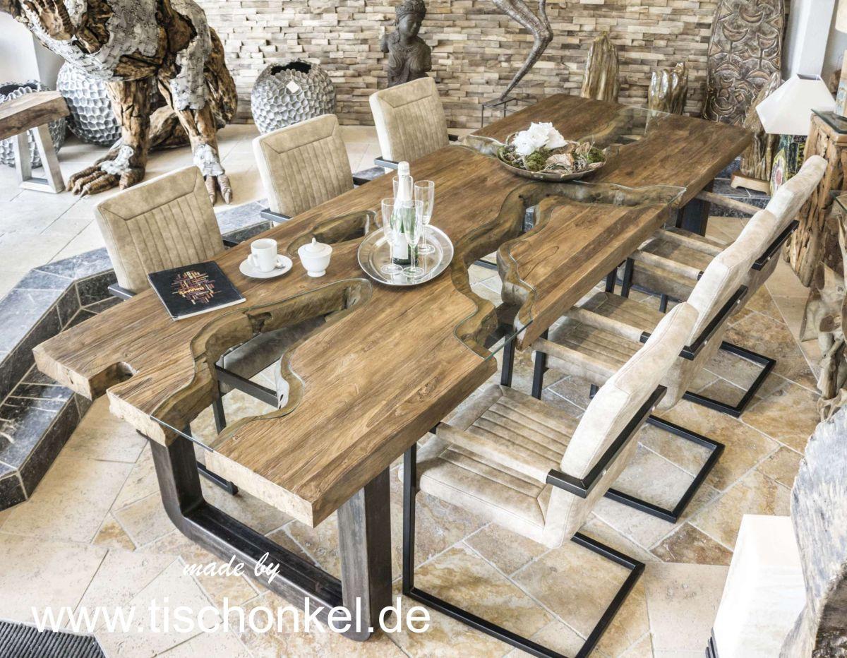 Esstisch aus massivholz rohlstahl und glas der for Esstisch aus glas