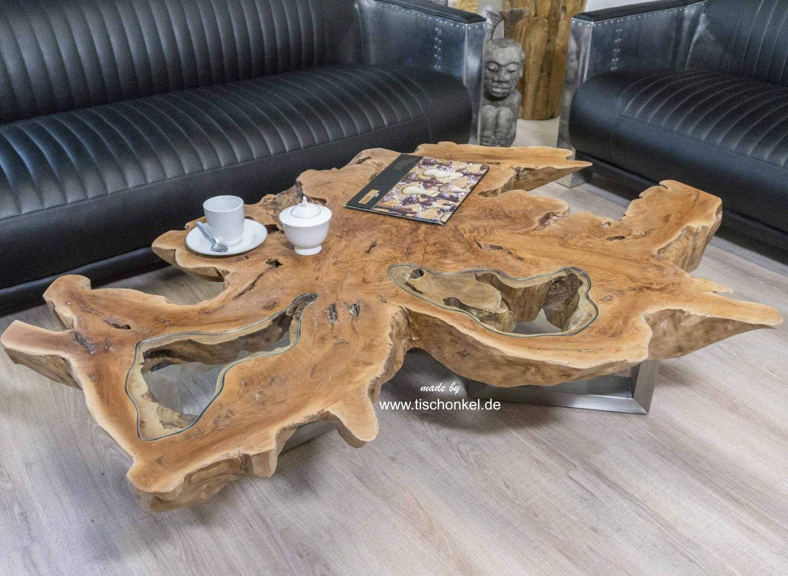 Couchtisch Aus Einer Baumscheibe Mit Glas Der Tischonkel