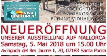 Flyer Eröffnung von GERKEN Wohndesign auf Mallorca mit Goodbye Deutschland