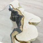 Einzelstück Couchtisch aus einem Baumstumpf halbrund mit Glasplatte