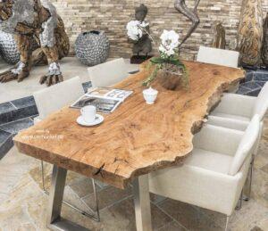 Esstisch Holzbohle massive Tischplatte Länge 220 cm