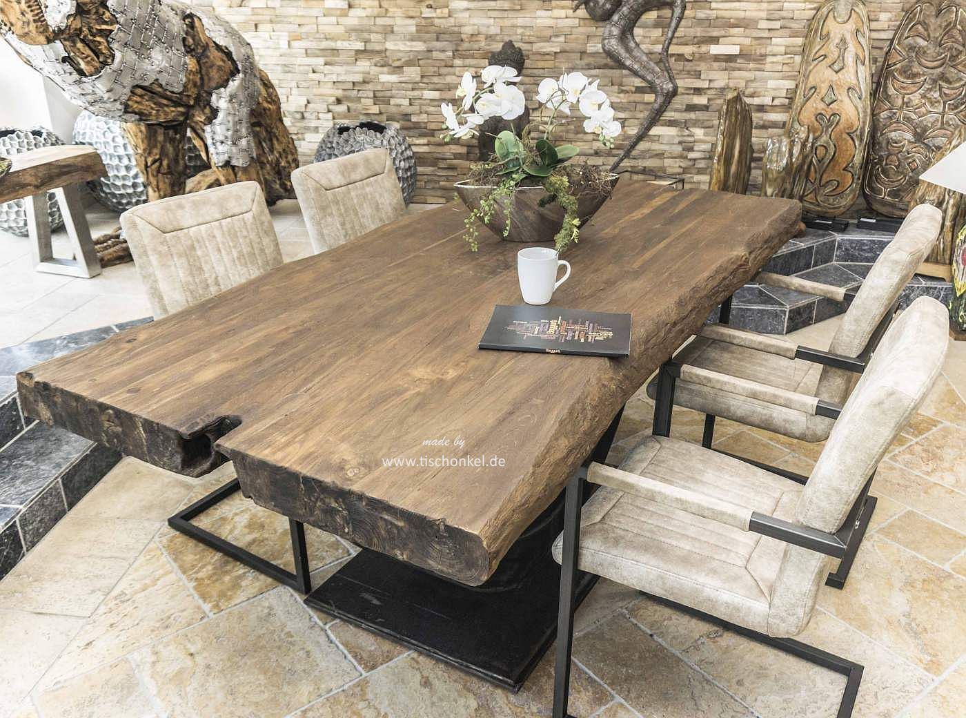 designer esstisch mit massiver tischplatte der tischonkel. Black Bedroom Furniture Sets. Home Design Ideas