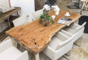 Massivholz Holzbohlen Esstisch aus Litschi