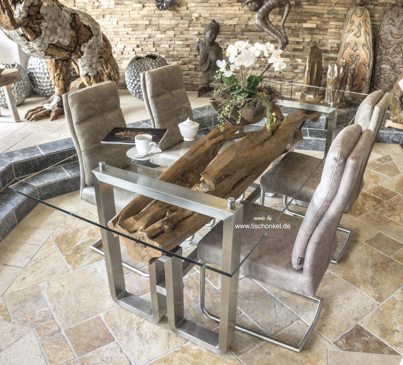 moderner esstisch aus holz und edelstahl der tischonkel. Black Bedroom Furniture Sets. Home Design Ideas