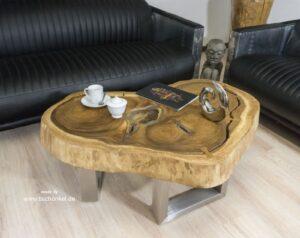 Natürlich runder Couchtisch aus Holz mit Glas und Edelstahl