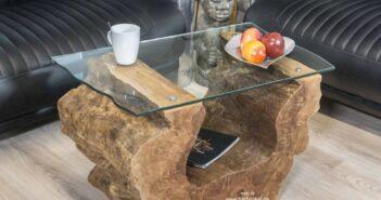 Couchtisch aus einem Baumstumpf von Gerken Wohndesign