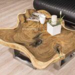 Couchtisch aus einer Baumscheibe tolles Deisgn von Gerken Wohndesign