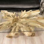 Eckiger Couchtisch 120x80 cm aus einer Baumwurzel