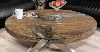Runder Couchtisch aus Holz mit Glasplatte