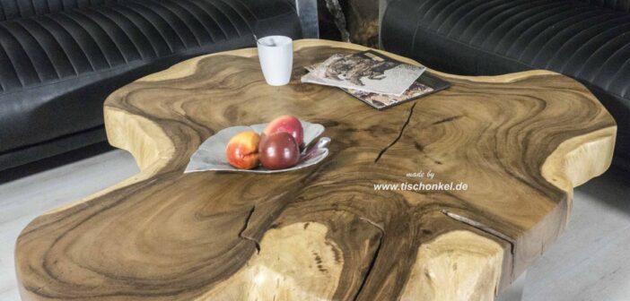 Couchtisch aus einem Baumstamm