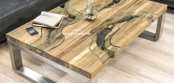 Wohnzimmertisch aus Holz mit Edelstahl und Glaseinlegern