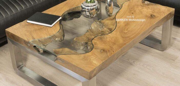 Eckiger Couchtisch aus Holz