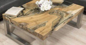 Moderner Couchtisch rechteckig aus massivem Holz mit Edelstahl