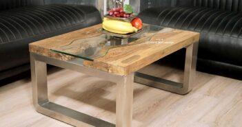 Rechteckiger Wohnzimmertisch aus Holz