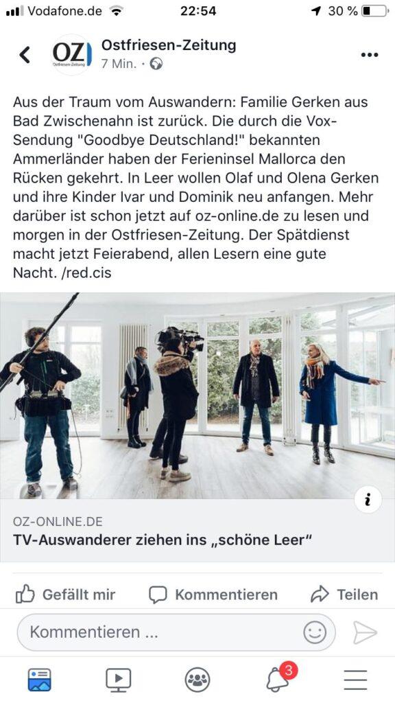 Olaf Wilhelm und Olena Gerken von Goodbye Deutschland ziehen nach Leer Ostfriesen-Zeitung