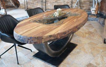 Ovaler Esstisch mit Rohstahl
