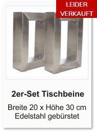 Tischgestell f�r einen Couchtisch aus Edelstahl 20x30 cm