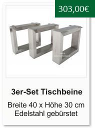 Tischgestell f�r einen Couchtisch aus Edelstahl 30x40 cm