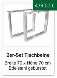 Tischgestell f�r einen Esstisch aus Edelstahl Breite 70 cm H�he 70 cm