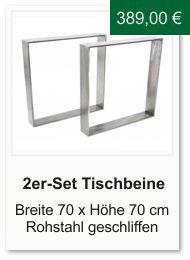 Tischgestell f�r einen Esstisch aus Rohstahl Breite 70 cm H�he 70 cm