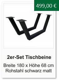 Tischgestell f�r einen Esstisch aus Rohstahl L�nge 180 cm H�he 68 cm schwarz matt
